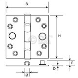 Kogellagerscharnier 76x76 mm rechte hoek SKG**® RVS_