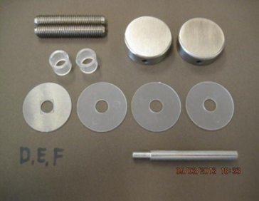 Bevestigingsset tbv enkelzijdige montage ø25mm grepen op glas