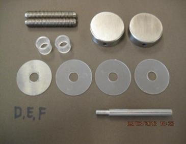 Bevestigingsset tbv enkelzijdige montage ø32mm grepen op glas