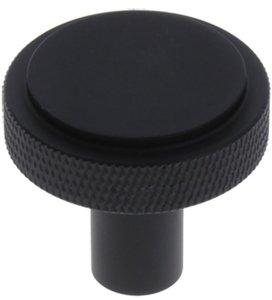 Starx knop vlak/ribbels rond 35 mm zwart