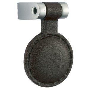 Knop Leder Rond Donkerbruin 16 mm