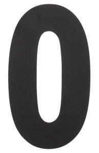 Huiscijfer 0 500 mm rvs/mat zwart