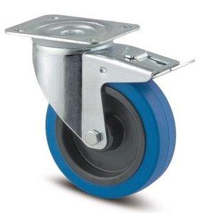 TENTE Zwenkwiel Met Rem 100 mm Blauw