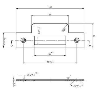 Mauer Sluitplaat 430 F RVS Din Ls/Rs rechthoekig