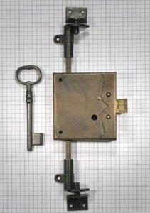 Spanjoletslot ijzer geroest 25 mm rechts