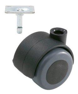 Meubelwiel Zwart Zacht 40 mm met Bevestigingsplaat