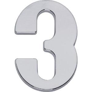 Huisnummer 3 chroom