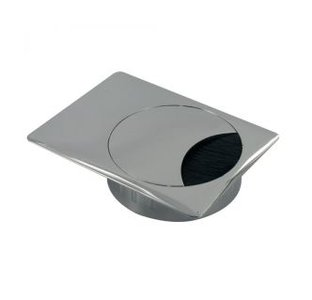 Kabeldoorvoer Vierkant Metaal RVS-Look 60 mm
