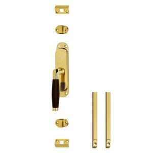 Set kruk-espagnolet links Ton 222 inclusief stangenset 2x 1250mm messing ongelakt /ebbenhout