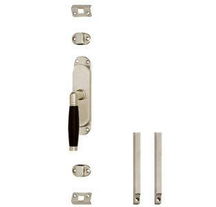 Set kruk-espagnolet links Ton 222 inclusief stangenset 2x 1250mm nikkel mat/ebbenhout