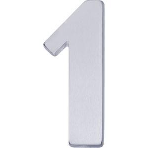 Huisnummer 1 mat chroom