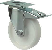 Kunststof zwenkwiel wit rond 125 mm met rem.
