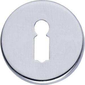Sleutelplaatje rond verdekt kunststof chroom mat