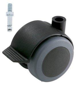 Meubelwiel Zwart Zacht + Rem 50 mm Stift M10