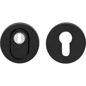 SKG*** Veiligheid-rozet Rond + kerntrekbeveiliging RVS/Mat Zwart
