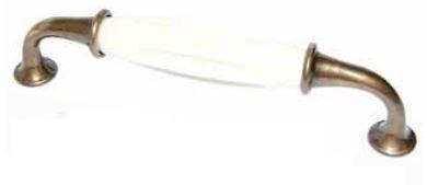 Greep Porselein crème en Brons 128 mm