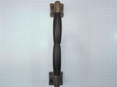 Deurgreep brons antiek met dubbel ebbenhouten handvat 225 mm