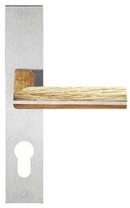 Deurkruk op schild Cilindergat PIET BOON PBL22P236Y Mat RVS/Eikenhout