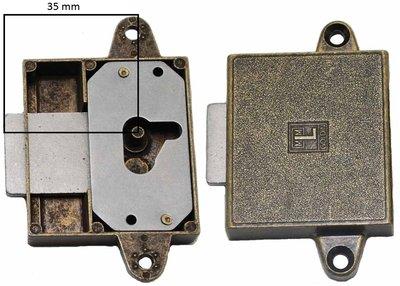 Meubelslot 35 mm rechts brons