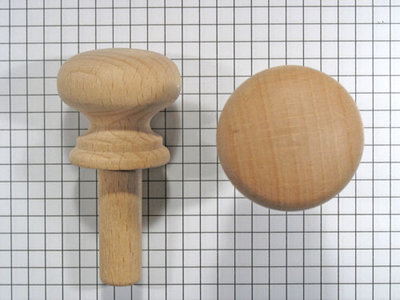 Meubelknop 34 mm beuken met lange stift