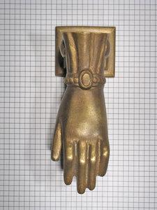 Deurklopper hand, brons antiek