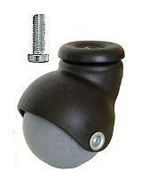 Meubelwiel 40 mm Zwart Met Zacht Loopvlak Bout M8