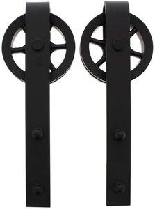 Set van 2 rollers Spaakwiel tbv schuifdeursysteem incl. bevestiging Mat Zwart