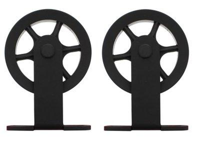 Set van 2 rollers Spaakwiel 170 mm tbv schuifdeursysteem incl. bevestiging Mat Zwart