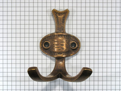 Kapstokhaak dubbel brons antiek
