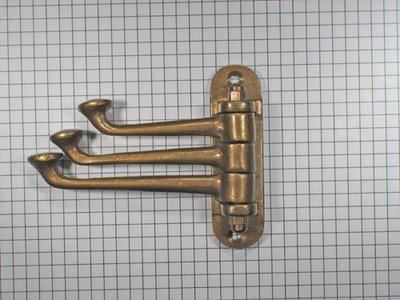 Kapstokhaak verstelbaar, brons antiek