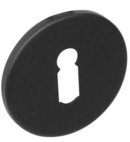 Sleutelplaatje rond plat verdekt RVS-mat zwart