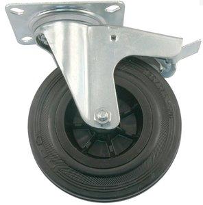 Transport Zwenkwiel met rem en bevestigingsplaat 80 mm