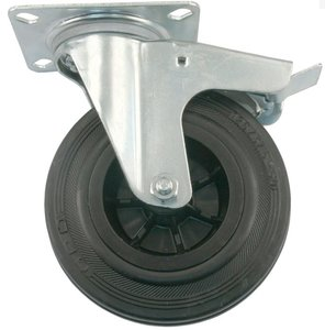 Transport Zwenkwiel met rem en bevestigingsplaat 200 mm