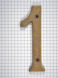Cijfer 1, groot, brons antiek
