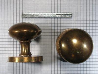 Draaiknopset voor deur, brons antiek