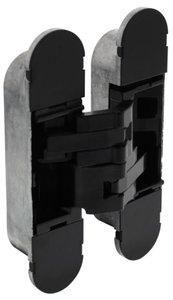 Scharnier Zamak 130x30 mm Binnenwerk Zwart - Zwarte Afdekkappen