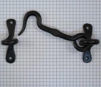 Deurhaak en vanger 100 mm ijzer zwart