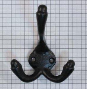 Kapstokhaak ijzer zwart dubbel