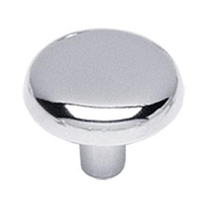 Knop plat 28 mm chroom