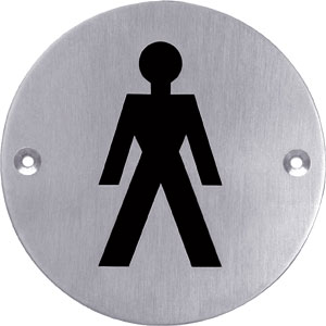 Pictogram rond WC heren rvs