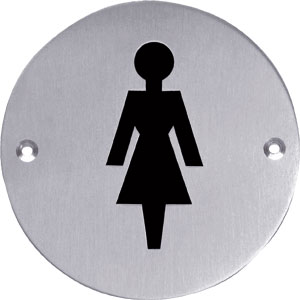 Pictogram rond WC dames rvs