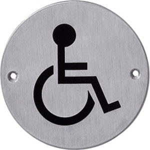 Pictogram rond WC minder valide rvs