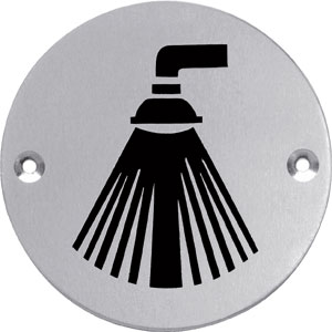Pictogram rond douche rvs