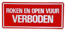 Aanduidingsbord roken en open vuur verboden