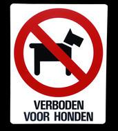 Kunststof aanduidingsbord verboden voor honden