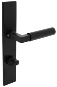 Deurkruk Bau-stil met schild 236x44x6mm WC63/8mm mat zwart