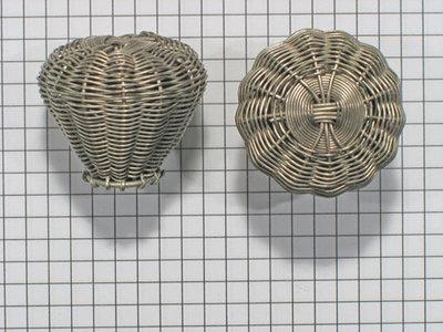 Knop gevlochten, chroomkleur, diam. 35 mm