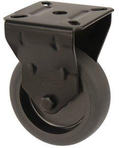 Bokwiel Zwart met bevestigingsplaat 75 mm