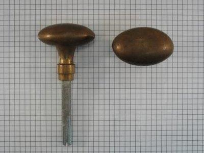 Set deurkrukken brons antiek ovaal