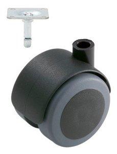 Meubelwiel Zwart Zacht 50 mm met Bevestigingsplaat